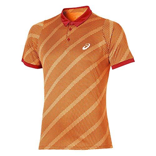 Asics Graphic manica corta abbigliamento donna Club Polo, Unisex, Oberbekleidung Club Graphic Short Sleeve Polo, arancione