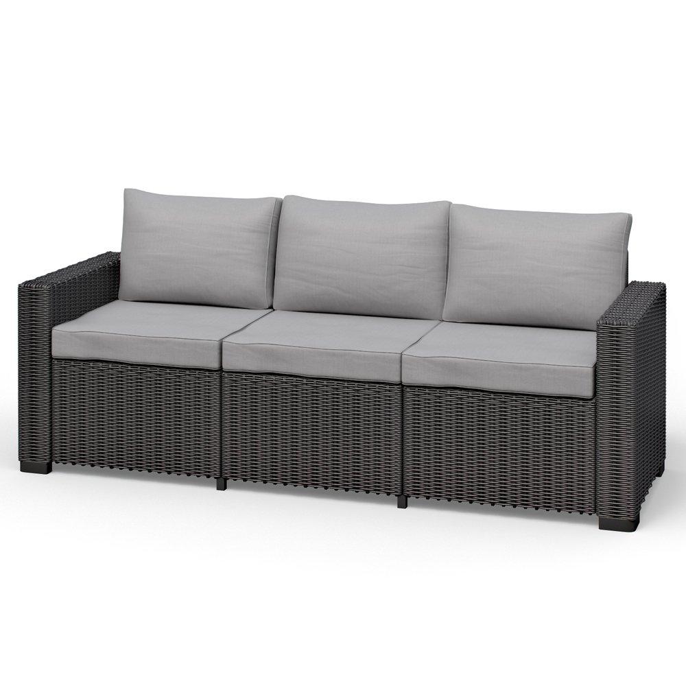 Sofa Couch Polyrattan Gartenmöbel Lounge Rattanoptik 3-sitzer graphit inklusive Auflagen California Allibert