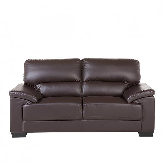 Divano moderno 2 posti in pelle sintetica marrone - Sofa design due posti - VOGAR