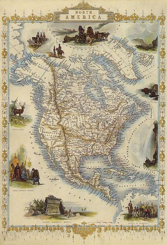 1800'S NORTH AMERICA UNITED STATES USA CANADA MEXICO MAP SMALL VINTAGE POSTER REPRO