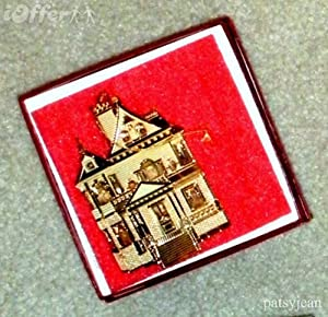 "Unique Gold Christmas Ornament -- 1995 Bing & Grondahl Collection -- ""First Victorian Doll House Ornament"""