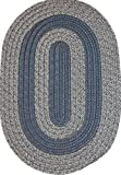 Veranda Patio 6' x 6' ROUND Braided Rug in Navy & Beige Tweed