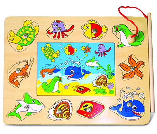 Puzzled Ocean Life 2 Wooden Magnetic Fishing Puzzle Play