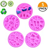 CCUT Cute Cake Fondant Mold Baby Shower Theme Mini Cake Fondant Mold Kitchen Baking Mold Cake Decorating Moulds Chocolate Modeling Tools Set of 5 (Color: Pink, Tamaño: 5 Pieces)