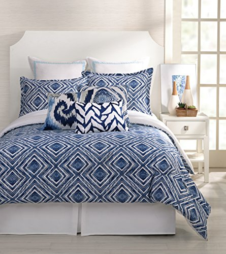 Trina Turk 3-Piece Silver Lake Duvet Set, King, Blue/White front-945322