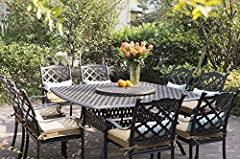 Darlee Camino Real Cast Aluminum 10-Piece Dining Set with Seat Cushions and 64-Inch Square Dining Table and 30-Inch Lazy Susan, Antique Bronze Finish