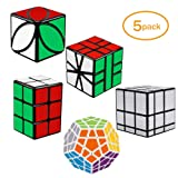 Tresbro Magic Cube , Megaminx Cube 2x2x3 Speed Cube Smooth Mirror Cube Ivy Cube SQ-1 Cube Creative Educational Toys for Kids Boys Girls[ IQ Tester] [5 Pack] (Color: Black)