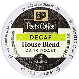 Peets Coffee & Tea Single Cup Coffee, Decaf House Blend, 16 Count