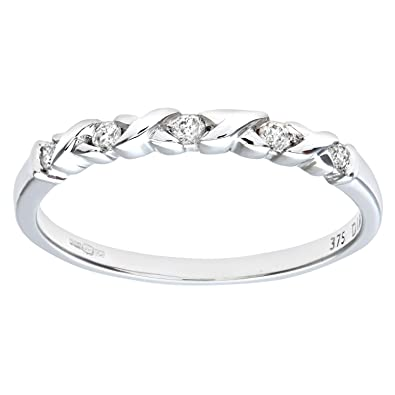 Naava 9ct White Gold 0.10ct Diamond Kiss Eternity Ring