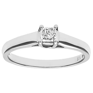 Naava 9ct White Gold S/S Diamond Ladies Ring