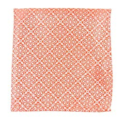 100% Woven Silk Coral Opulent Geometric Patterned Pocket Square