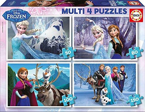 Educa - 16173 - Puzzle Classique - Multi 4 en 1 - La Reine des Neiges