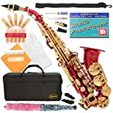 320-RD - RED/GOLD Keys Curved Bb Soprano Saxophone Lazarro++11 Reeds,Music Pocketbook,Case,Care Kit - 24 COLORS - SILVER or GOLD KEYS - CHOOSE YOURS !