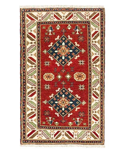 Hand-Knotted Royal Kazak Wool Rug, Cream/Dark Copper, 3' 1 x 5'