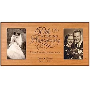 50th Anniversary Picture Frame Gift Personalized Wedding With S Names And Dates Golden
