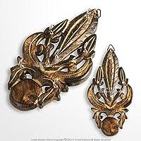 Medieval Gears Brand Wooden Burnt Medieval Style Fleur De Lis Cutout Six Keychain Holder Rack Plaq