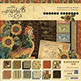 Graphic 45 French Country Paper Pad, 12 by 12-Inch