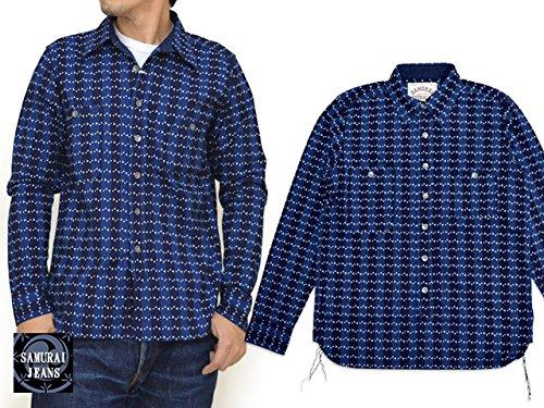 (サムライジーンズ)SAMURAI JEANS 濃淡インディゴ マキビシウォバッシュ長袖ワークシャツ 日本製 SMBS-L02
