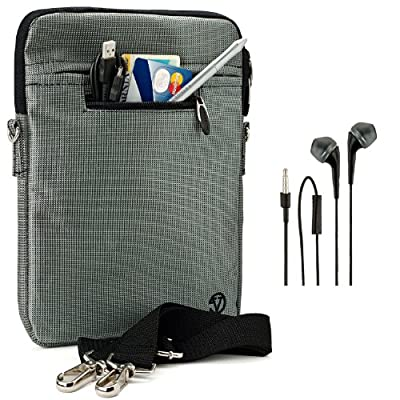 "VanGoddy Hydei Sleeve Modern Padded Bag Pack Cover w/ Shoulder Strap fits Amazon Kindle Fire HDX / HD 8.9"" Smart Prime Tablet STEEL GREY + Black Hands-free Earphones (Headphones with Microphone)"