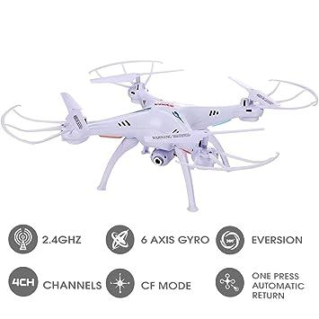YKS SYMA X5SC Hélicoptère avec Caméra HD Rotation 360 Degrés 2.4G 4CH 6-Axis Gyro RC Drone Quadcopter BeiyiHomeFR (Blanc)
