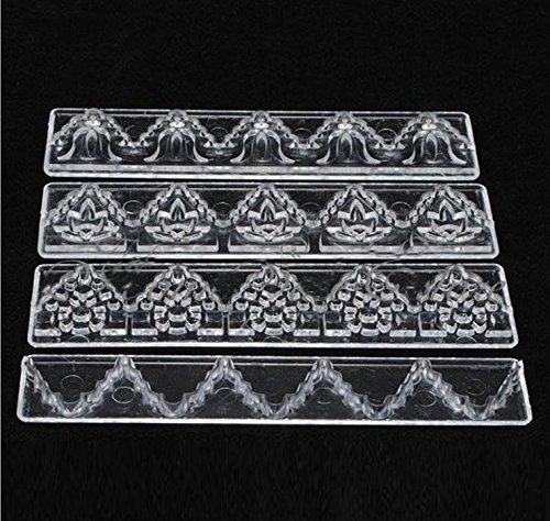 MaMaison007 4 pezzi muffa del silicone di pizzo trasparente stampo Ribbon Lace forma di corona muffa della torta del fondente di cottura della decorazione Strumento