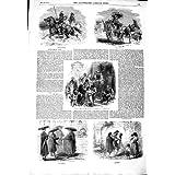 Impresión Antigua del Ara 1850 del Convento de los Monjes del Vino-Carro de los Ganado-Ganaderos de Roma