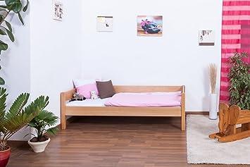 Bett / Gästebett Benedikt Buche Vollholz massiv Natur inkl. Rollrost - 90 x 200 cm