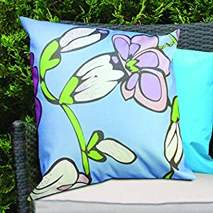 Blue Funky Flower Design Water Resistant Outdoor Filled Cushion for Cane/Garden Furniture by Gardenista