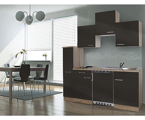 Bloque de cocina respekta single bloque de cocina de 180 cm roble gris APL de roble KB180ESG