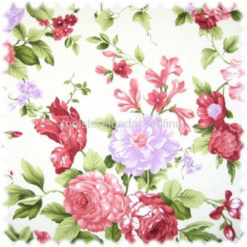 Englische Polstermöbel Landhausstil ~ Möbelstoff Flora Eden Rose Perlweiss in Englisch Leinen Optik