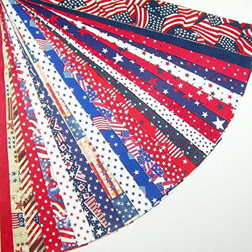 Patriotic Jelly Roll 24 Cotton Quilting Fabric Strips 2.5 X 43-inch Novelty Prints Red White Blue USA No Duplicates