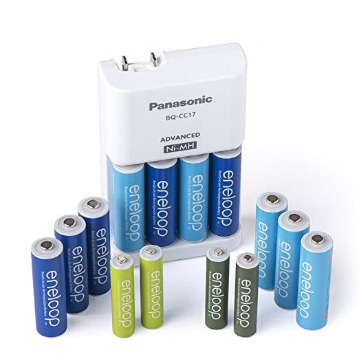 Panasonic K-KJ17MZ104A Eneloop Power Pack for 10AA, 4AAA Colored Cells Advanced Battery Charger