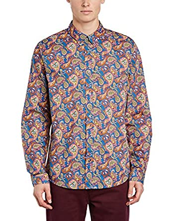 Pretty Green Men's Vintage Paisley Regular Fit Classic Long Sleeve Casual Shirt, Multicoloured (Vintage), Small
