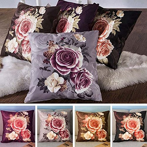 Rose Flower Printed Plush Pillow Case Cushion Cover Sofa Bedroom Decor
