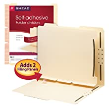 Smead Self-Adhesive Folder Dividers with Twin-Prong Fasteners, Letter Size, Manila, 25 per Box (68025)