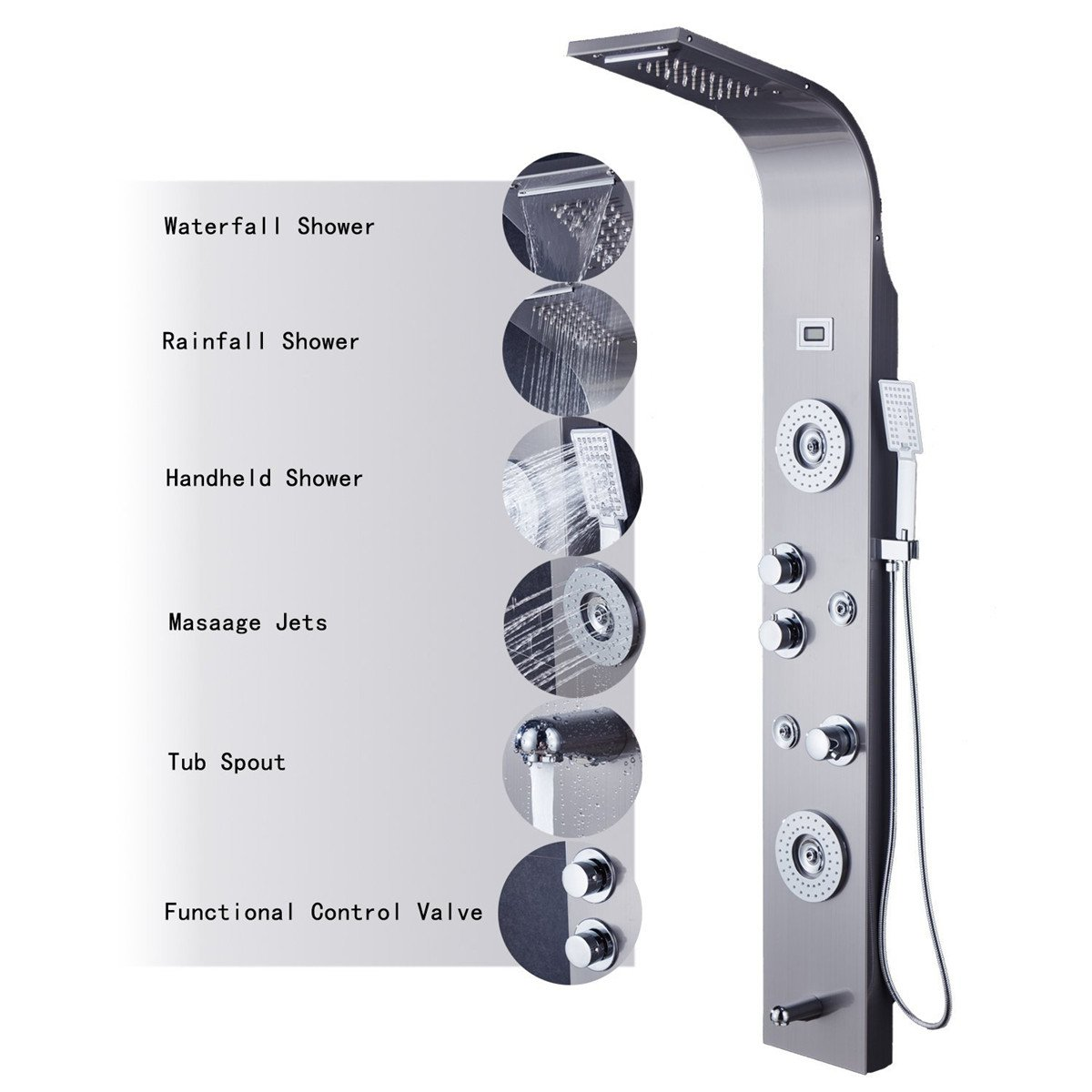 ELLO&ALLO Stainless Steel Shower Panel Tower System,LED Rainfall Waterfall Shower Head 5-Function Faucet Rain Massage System with Body Jets Fingerprint-free, Brushed Nickel