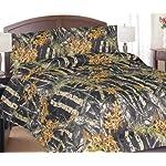 Regal Comfort Black Woodland Camo Comforter & Sheet Set Bed in a Bag- Queen -