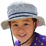 子供 帽子 ヒッコリー柄でお洒落 オシャレ度だって2倍 キッズ ストライプ2WAYアドベンチャーハット