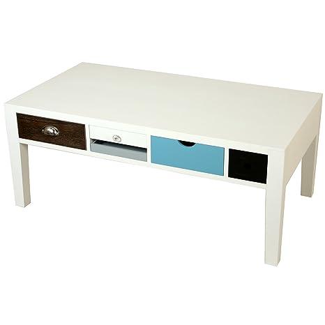 PAME 40703 - Mesa centro de madera con cajones multicolores, 113 x 60 x 45 cm, color blanco