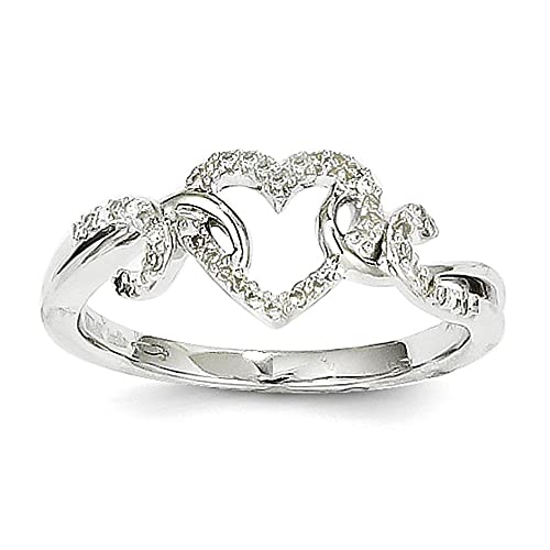 14k White Gold Diamond Heart Shape Design Ring