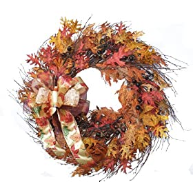 Grand Fall Leaf Door Wreath with Berries and Acorns WR4269-42