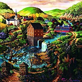 Yellow Ribbon Path 1000pc Jigsaw Puzzle by Tom Antonishak