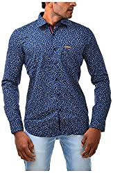 Casinova Men's Satin Casual Shirt (3006-Large, Blue, Large)