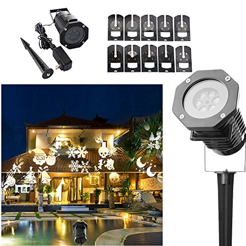 Ucharge Rotating Projection Led Lights Snowflake Spotlight, 10PCS Pattern Lens Christmas Projector Light Show Waterproof for Garden, Yard, Wall, Trees, Holiday, Party Decoration, White