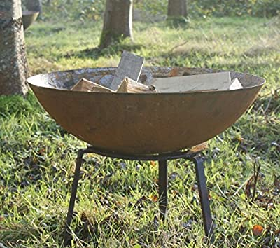 80cm Steel Dish Bowl Fire Pit Burner With Trivet Wood Fire Garden Heater by Round Wood Trading