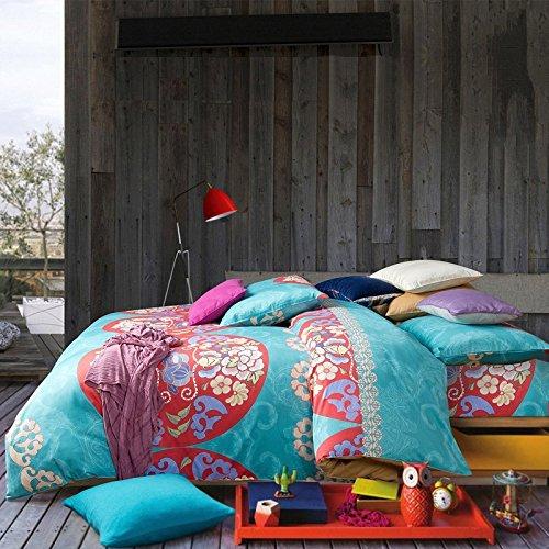 FADFAY Bohemian Style Bedding Bohemian Duvet Covers Boho Bedding Set Queen Size Summer Style Sabanas Sheet 4 Pieces (Moroccan Bedding Full compare prices)