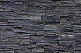 Papel pintado fotogr�fico que muestra una pared de piedra, un muro de piedra - Imagen mural de un muro de piedra asi�tico oscuro - decoraci�n mural mo