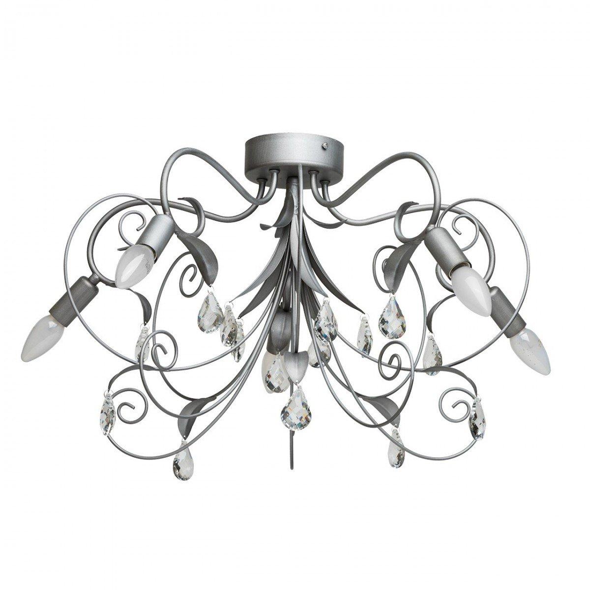 Deckenleuchte Deckenlampe Leuchte Lampe Flora Style, Ø 65 cm, Silber Antik mit Kristallen, 5 x E14 max. 40 W