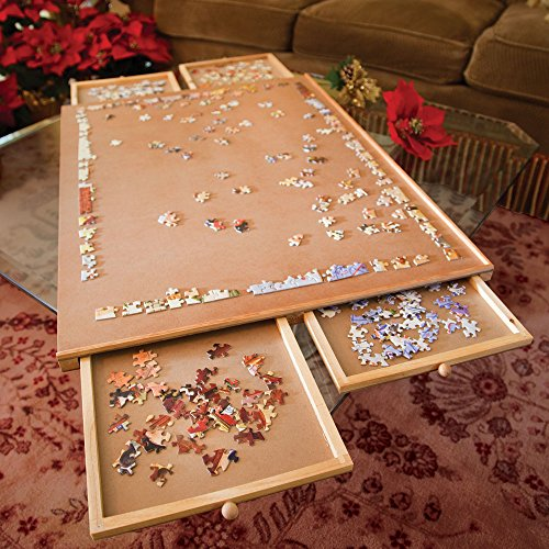 Wooden Puzzle Storage System With Drawers