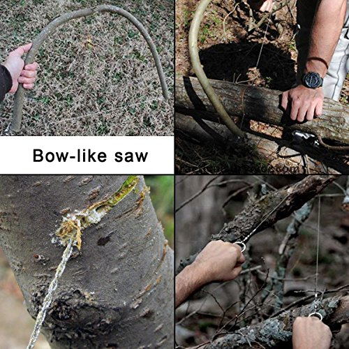 Greenwon 24 Inches Stainless Steel Flexible Wire Saw 4 Strands Wire Winding Ropes Military Emergency Survival Pocket Chain Saw for Camping Hunting Survival Rescue